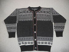 Mens Sweater-DALE OF NORWAY-black/white wool Norwegian button cardigan-S