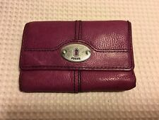 Womens Fossil Key Per Purple Leather Trifold Wallet