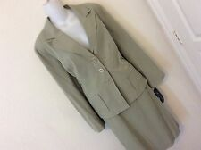 NWT LARRY LEVINE CLASSIC ELEGANT SKIRT SUIT SAGE LINED FITTED OFFICE STRETCH 16W