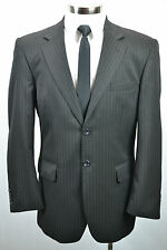 (40R) VanHeusen Men's Charcoal Gray Pinstripe Classic Pleated Front 2 Piece Suit