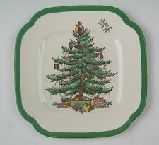 Spode China CHRISTMAS TREE-GREEN TRIM Square Bread and Butter Plate(s) EXCELLENT