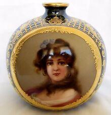 19th Century Royal Vienna Hand Painted Porcelain Round Vase