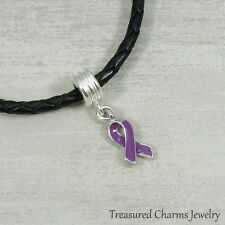 Purple Awareness Ribbon Dangle Bead Charm - Fits European Bracelets NEW