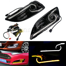 set LED Daytime Running Light For Ford Fiesta DRL Fog 2013 2014 2015 Turn Signal