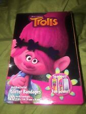 Trolls  Band Aids Bandages 20 In pack 3 motives kids Glitter Bandages New