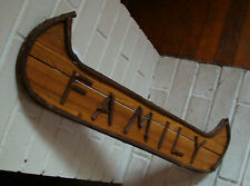 LARGE 2 FT CANOE FAMILY SIGN Lodge Cabin Rustic Tree Branch Twig Home Decor NEW