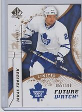 08-09 2008-09 SP AUTHENTIC JONAS FROGREN FUTURE WATCH RC LIMITED /100 170 LEAFS