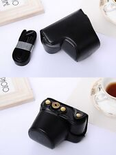 (BLACK) Camera Hard Leather Compact Case Pouch Bag For Sony A6000 NEX 6 + Strap
