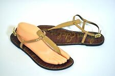 Sam Edelman GIGI Nude Tan Patent Leather Thong Ankle Strap Sandals 9.5 / 41.5