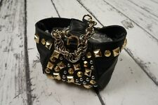 USED VERSACE H&M BAG TASCHE ROUCH BLACK STUDDED HANDBAG PURSE CLUTCH 100%AUTHENT
