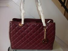 ~*$428 NWT Michael Kors Susannah  Quilted Leather Tote In *MERLOT