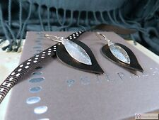 SILPADA W3274 ~ Layered Leaf Leather & Sterling Silver Earrings