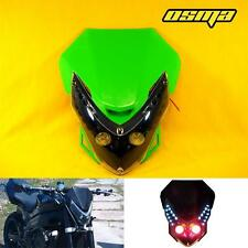 New Universal Enduro Cross Motorcycle Streetfighter Green LED Headlight Fairing