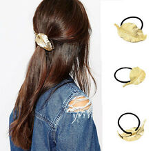 Charm Women Gold Plated Alloy Leaf Hair Ring Elastic Fashion Hairband Jewelry