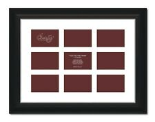 """Craig Frames 17x23 2"""" Black Picture Frame, White Mat, Openings for 9 4x6 Images"""