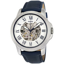 Fossil Grant Automatic Silver Skeleton Dial Mens Watch ME3111