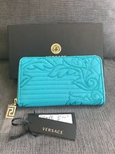 AUTHENTIC Versace Women's Turquoise Zip Leather Wallet NWT ($695 Retail)