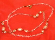 """MIRIAM HASKELL vtg FACET Saucer Iridescent Clear Crystal Faux Pearl 30"""" necklace"""