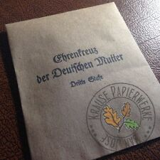Envelope/packet for German Mother's Cross (Mutterkreuz) 3rd class (bronze)