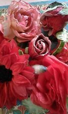 Vintage millinery flowers Velvet Silk Pink and Red Dresses Hats Cottage Victoria