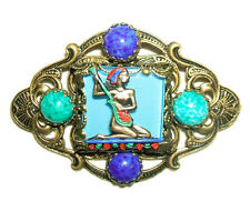 EGYPTIAN REVIVAL Brooch Pin PHARAOH BOAT with CZECH PEKING and LAPIS GLASS STONE