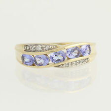 Tanzanite & Diamond Ring - 10k Yellow & White Gold December Birthstone .78ctw