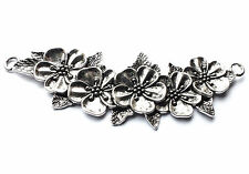 1 x 112mm Quality Large Silver Plated Flower Leaf Connector Charm Pendant, Craft