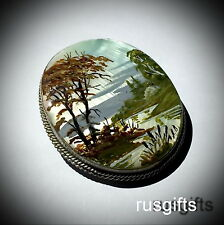 RUSSIAN MOP HAND PAINTED BROOCH PIN FOREST RIVER MOTHER OF PEARL FEDOSKINO NEW
