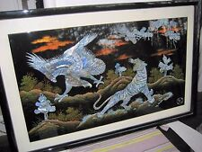 Traditonal Vietnamese Mother of Pearl Lacquer Tiger and Eagle Painting