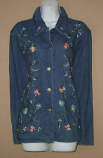 Womens Size Medium Blue Jean Denim Embroidered Floral Coat Jacket Blazer