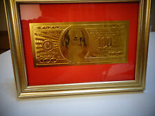 24 Karat 99.9% Gold Usa *$100 Dollar Bill-Framed- Limited Production, Rare