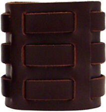 Men's Brown 3 Strap Leather Cuff Wristband - Genuine Leather - Handmade in USA