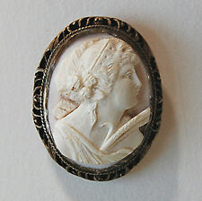 Antique CORAL CAMEO BROOCH CLIP - (CERES / HARVEST)  Angel Skin Coral     (4A42)