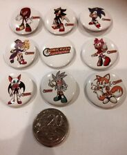 Lot of 9 Sonic the Hedgehog Badges - 3cms diameter - for party loot bag favours