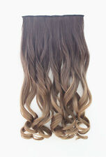 New Clip-In Synthetic Hair Extension Long Wavy Curly Ombre Blonde Hairpiece 8/27