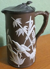 "Brown and White Sprigged Stoneware Lidded Jug Dudson ""Tropical Bird"""