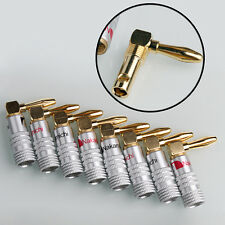 8PCS Nakamichi Angle Speaker Banana Plug Adapter Wire Connector 24K Gold Plated