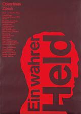 Original Vintage Poster Josef Muller Brockmann Ein Wahrer Held Klebe 1975 Swiss