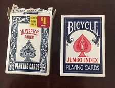 Blue Pack Bicycle Jumbo Index 88 Poker Playing Cards + Maverick No 6734 Vintage