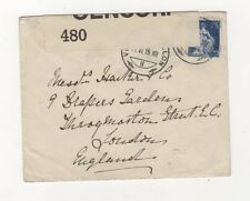Opened By Censor 480 WW1 Cover 1915 Switzerland to London 413b