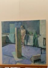 English School oil painting on canvas, Cornish studio work,  Male studio nude
