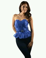 Blue Bombshell Belted Corset Tube Top