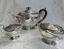 W & G Sisson 1882 Silver Plate Sheffield Tea Set teiera zuccheriera lattiera