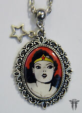 Altered Art Vintage Heroine Wonder Woman Super Hero Comic Book Cameo Necklace