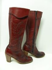 MISS CAPEZIO Boots Size 6.5M Red Leather Embroidered Tall Cowboy Riding