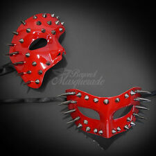 Steampunk Spike Red Couple Matching Venetian Masquerade Halloween Mask 2pc Set