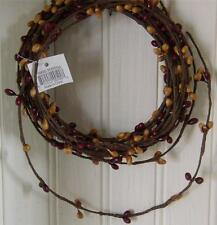 Primitive Pip Berry Garland ~ 18 ft single ply roping ~ Burgundy Old Gold