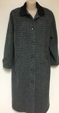 Women's Petite Medium. LL Bean Wool Winter Coat Long Blue Gray Plaid Vintage