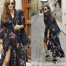 ZARA BLACK FLORAL PRINT MAXI LONG TUNIC DRESS MEDIUM REF 3198/253 BLOGGERS