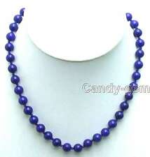 """SALE Beautiful small 8mm Round Blue Jade 18"""" Necklace -nec5816 Free shipping"""